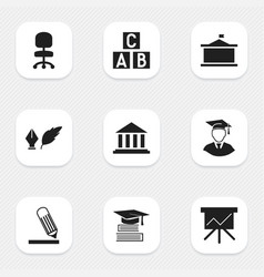 Set of 9 editable education icons includes vector
