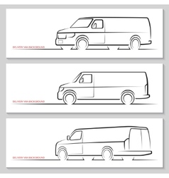 Set of delivery van silhouettes vector