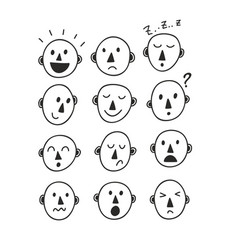 set of funny cartoon faces vector image vector image