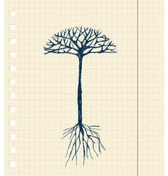Sketch tree with roots for your design vector image vector image