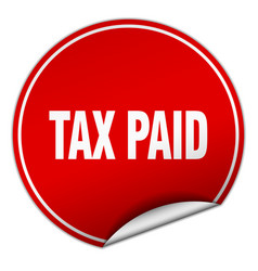 Tax paid round red sticker isolated on white vector