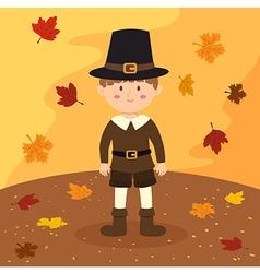 Thanksgiving pilgrim boy cartoon vector