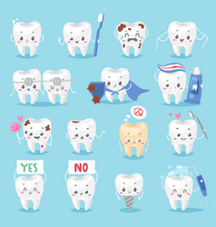 tooth character personage dental clinic mascot vector image