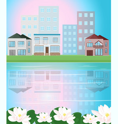 village view with reflection vector image vector image