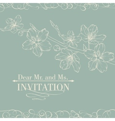 Vintage decorative invitation card with sakura vector