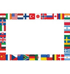 world flag icons frame vector image