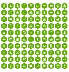 100 children icons hexagon green vector image