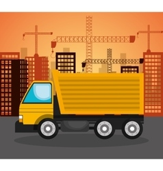 Heavy machinary over city construction background vector