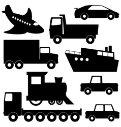 Set 1 of different transport silhouettes vector