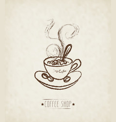 Hand drawn cup of hot coffee vector