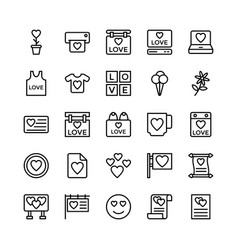 Love and valentine line icons 16 vector