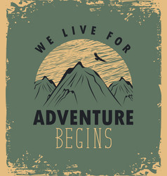 Travel banner with mountain and inscription vector