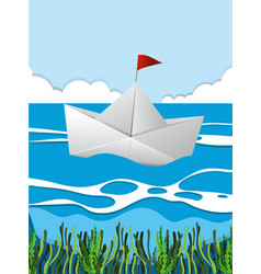 Paper boat floating on river vector