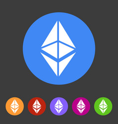 Ethereum cryptocurrency icon flat web sign symbol vector