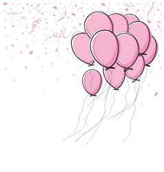 Pink balloon on white background vector