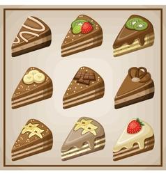 Image set of nine cakes vector image