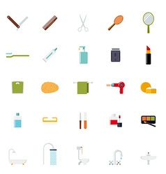 Flat design bath and beauty icons collection vector
