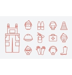 Safety at work job safety line icons set vector