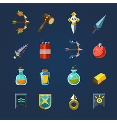 Game resources icons flat set vector