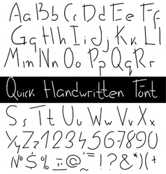Quick handwritten font vector
