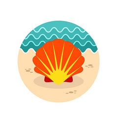 Seashell icon summer vacation vector