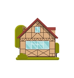 Half-timbered wooden cottage vector