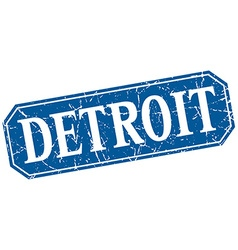 Detroit blue square grunge retro style sign vector