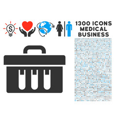 Analysis case icon with 1300 medical business vector