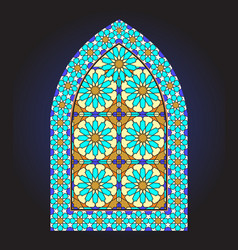 Ancient stained glass ornamental window vector