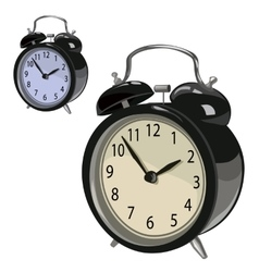 Black classic alarm clock on a white background vector