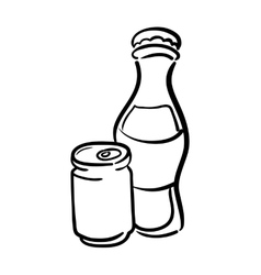 Bottle and can icon soda and drink design vector