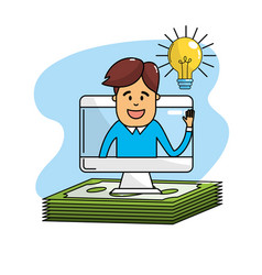 Bulb idea to business computer with bills cash vector