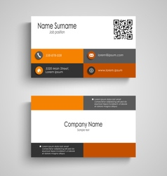 Business card with orange grey squares design vector