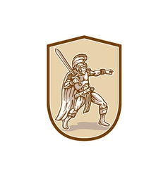 Centurion Roman Soldier Wielding Sword Cartoon vector image