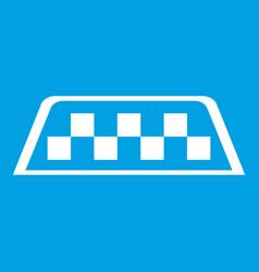 Checker taxi icon white vector