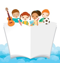 Children with school supplies and book vector