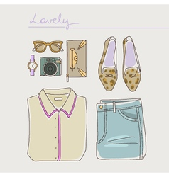 Collection of woman clothes shoes and accessories vector image vector image