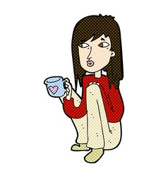 comic cartoon woman sitting with cup of coffee vector image