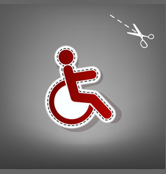 disabled sign red icon with vector image