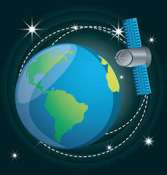 Earth planet with technology satellite vector