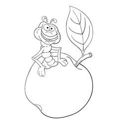 Funny cartoon worm in apple vector image