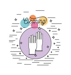 gloves cleaning service silhouette in circular vector image