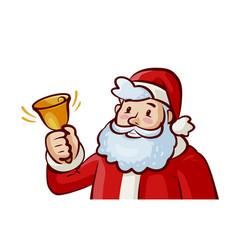 happy santa claus ringing bell jingle bells vector image vector image