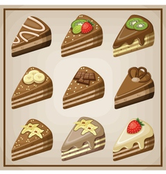Image set of nine cakes vector image