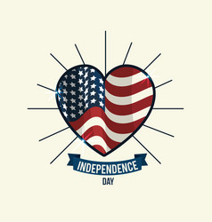 Independence day with heart emblem and ribbon vector