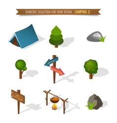 Isometric 3d forest camping vector