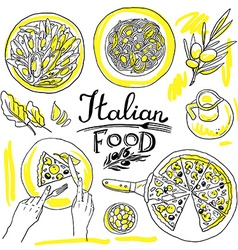 italian food- set of food hand-draw vector image
