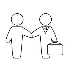Line businessmen with suit and briefcase vector