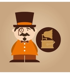 man hipster gramophone vintage icon vector image vector image