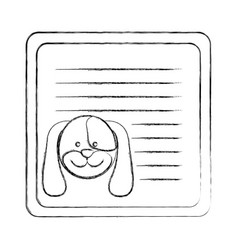 Monochrome blurred card with male dog head vector